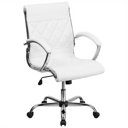 Mid Back Designer Office Chair in White