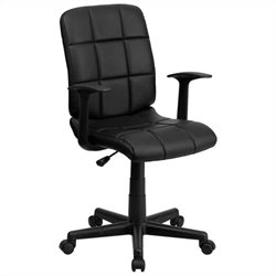 Mid Back Quilted Task Office Chair with Arms in Black