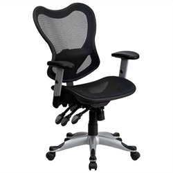 Mid Back Mesh Office Chair Control in Black
