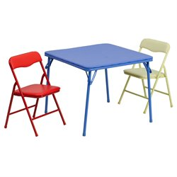 Kids Colorful 3 Piece Folding Dining Table and Chair Set