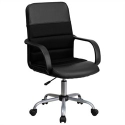 Mid-Back Mesh and Leather Office Chair in Black