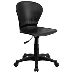 Mid-Back Plastic Swivel Task Office Chair in Black