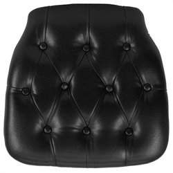 Hard Tufted Vinyl Chiavari Chair Cushion in Black