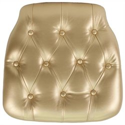 Hard Tufted Vinyl Chiavari Chair Cushion in Gold