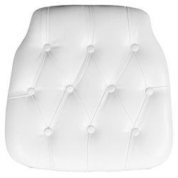 Tufted Chiavari Faux Leather Seat Cushion in White