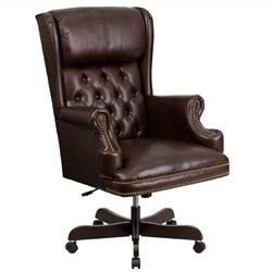 High Back Upholstered Executive Office Chair in Brown