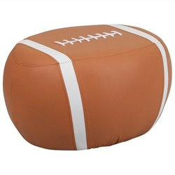 Kids Football Stool in Brown and White