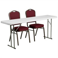 Folding Table and 2 Stacking Chairs in Red and White