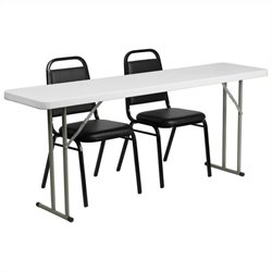 Folding Table and 2 Stacking Chairs in Black and White