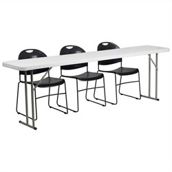 Folding Table and 3 Stacking Chairs in Black and White