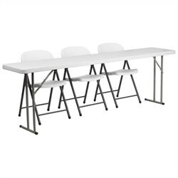 Folding Table and 3 Stacking Chairs in White