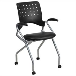 Mobile Leather Nesting Folding Chair in Black