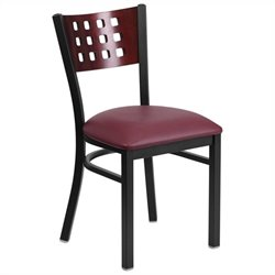 Upholstered Grid Cutout Back Restaurant Dining Chair in Mahogany and Burgundy