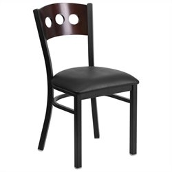 Upholstered Dining Chair in Walnut and Black