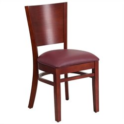 Upholstered Restaurant Dining Chair in Mahogany and Burgundy
