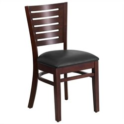 Upholstered Restaurant Dining Chair in Walnut and Black