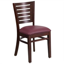 Upholstered Restaurant Dining Chair in Walnut and Burgundy