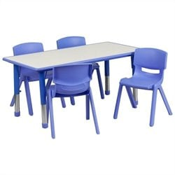 Plastic Activity Table Set with 4 School Stacking Chairs in Blue