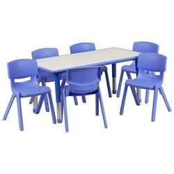 Plastic Activity Table Set with 6 School Stacking Chairs in Blue