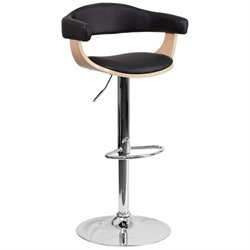 Beech Bentwood Adjustable Contemporary Bar Stool