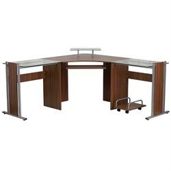Glass Laminate Corner Computer Desk in Teak