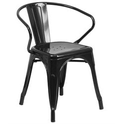 Metal Dining Arm Chair in Black