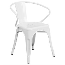 Metal Dining Arm Chair in White