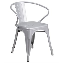 Metal Dining Arm Chair in Silver