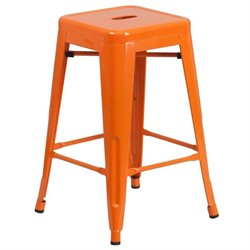 Metal 24'' Backless Counter Stool in Orange