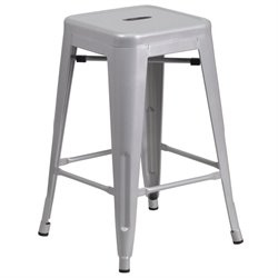 Metal 24'' Backless Counter Stool in Silver