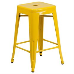 Metal 24'' Backless Counter Stool in Yellow