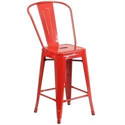 Metal 24'' Counter Stool in Red