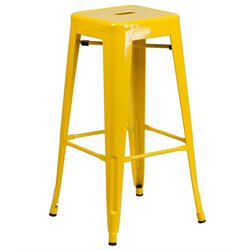 Metal 30'' Backless Bar Stool in Yellow