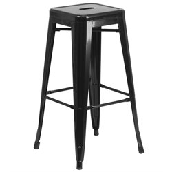 Metal 30'' Backless Bar Stool in Black