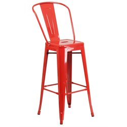 Metal 30'' Bar Stool in Red