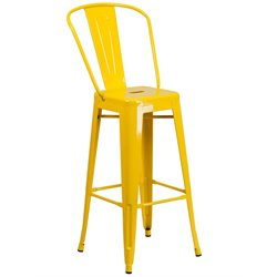 Metal 30'' Bar Stool in Yellow