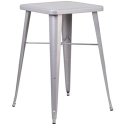 Metal Square Bar Table in Silver