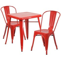 Metal 3 Piece Bistro Set in Red