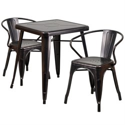 Metal 3 Piece Bistro Set in Black-Antique Gold