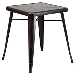 Metal Square Bistro Table in Black-Antique Gold