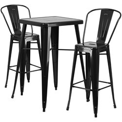 Metal 3 Piece Bar Table Set in Black