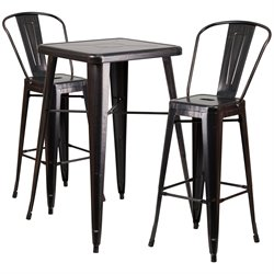 Metal 3 Piece Bar Table Set in Black-Antique Gold