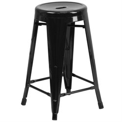 Metal 24'' Backless Counter Stool in Black