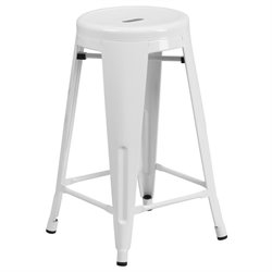 Metal 24'' Backless Counter Stool in White