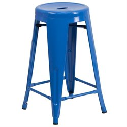 Metal 24'' Backless Counter Stool in Blue