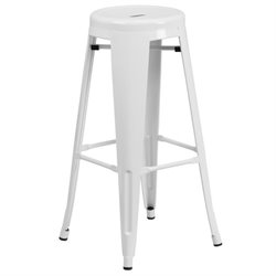 Metal 30'' Backless Bar Stool in White