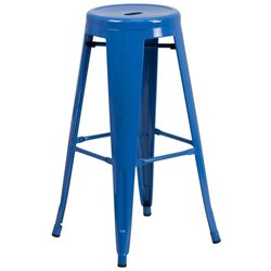 Metal 30'' Backless Bar Stool in Blue