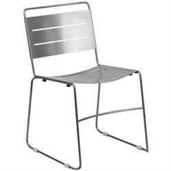 Metal Stack Dining Chair in Silver