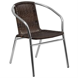 Aluminum Rattan Dining Chair in Dark Brown