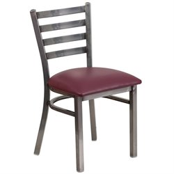 Ladder Back Restaurant Chair in Burgundy